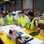 A meeting at the gemba (shopfloor)